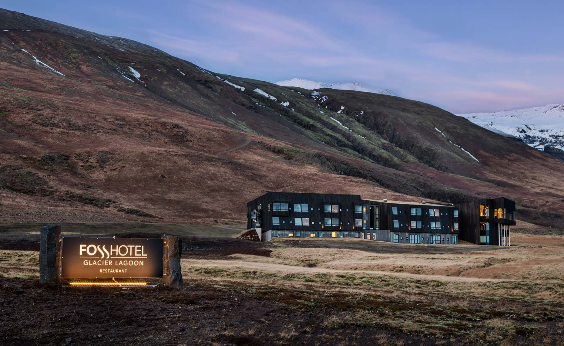 Exterior photograph of a luxury hotel in Iceland resort by Denver Colorado based architectural hotel and resort photographer Richard Steinberger