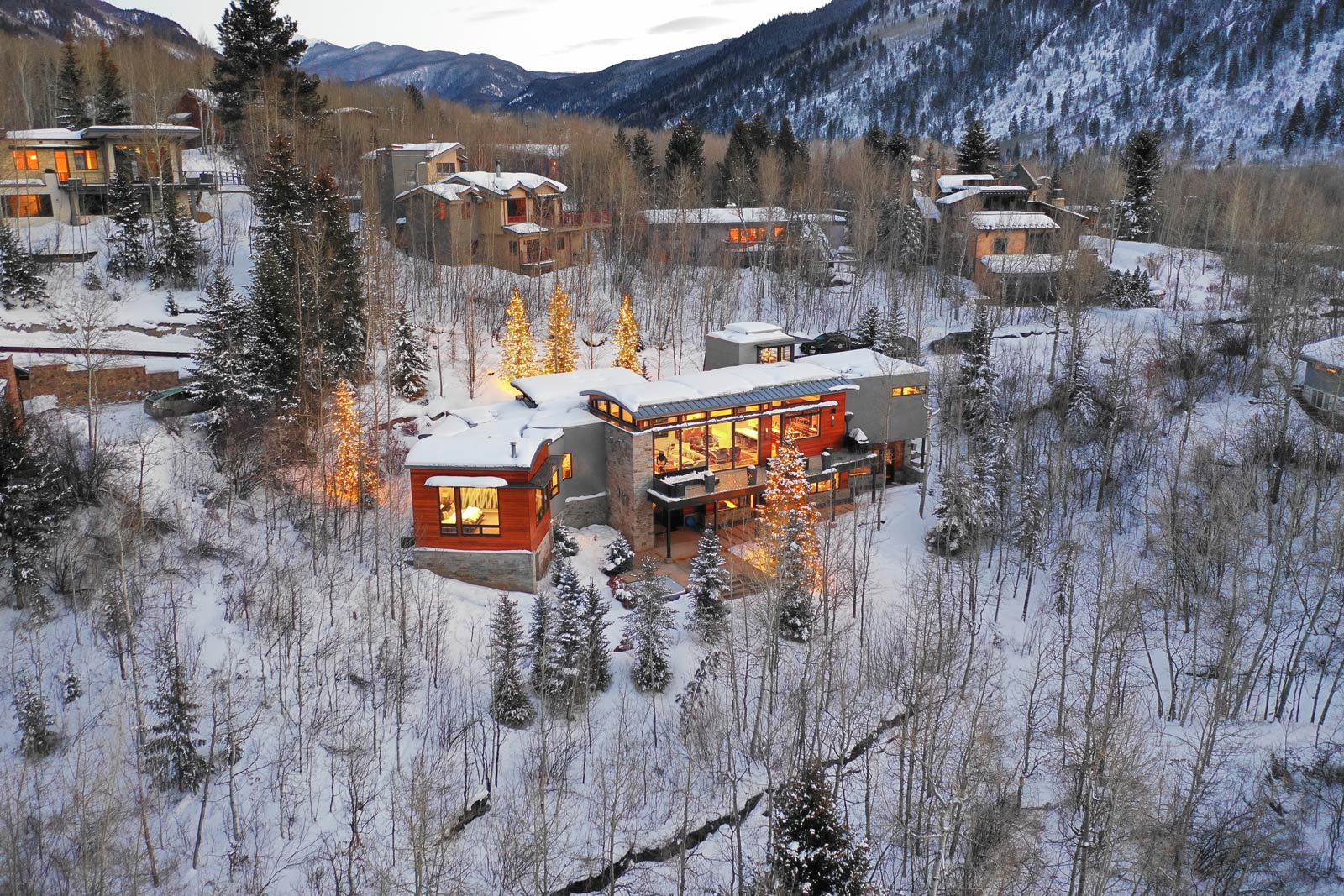 Architectural exterior of residential luxury home Aspen Colorado