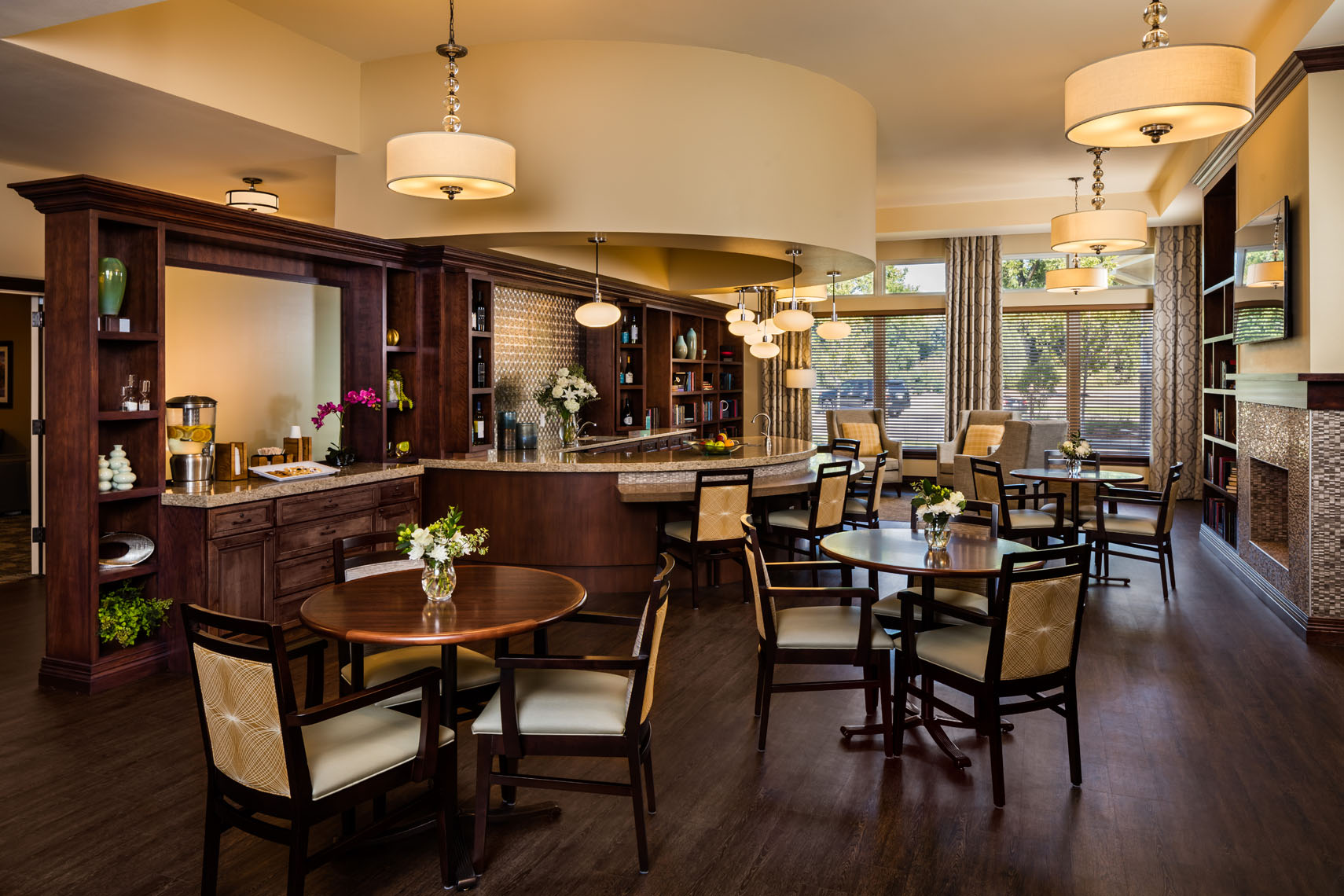 Bar area of a restaurant in a senior living facility photographed for the architect and interior designer in denver colorado