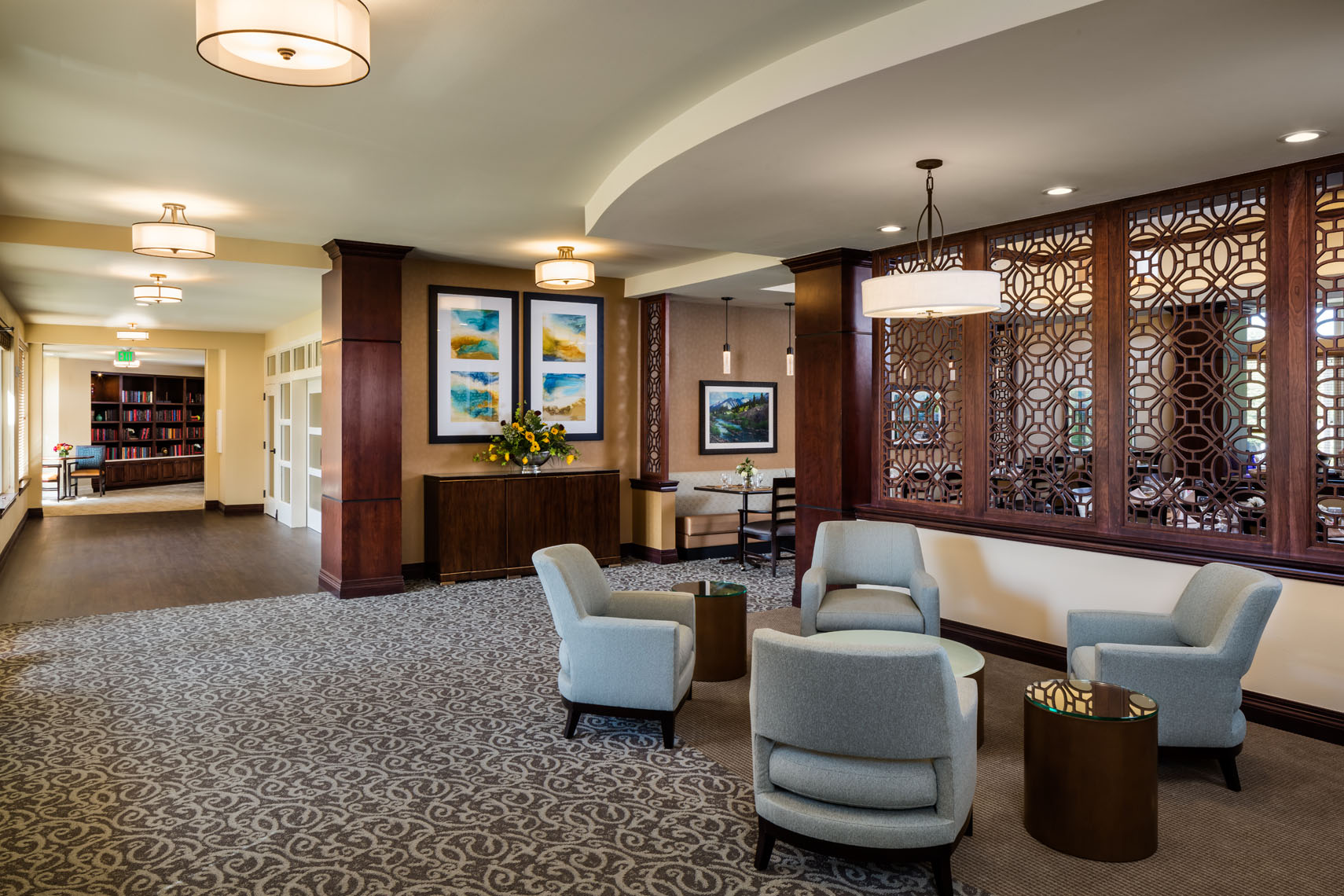 Senior living facility photographed for the architect and interior designer in denver colorado