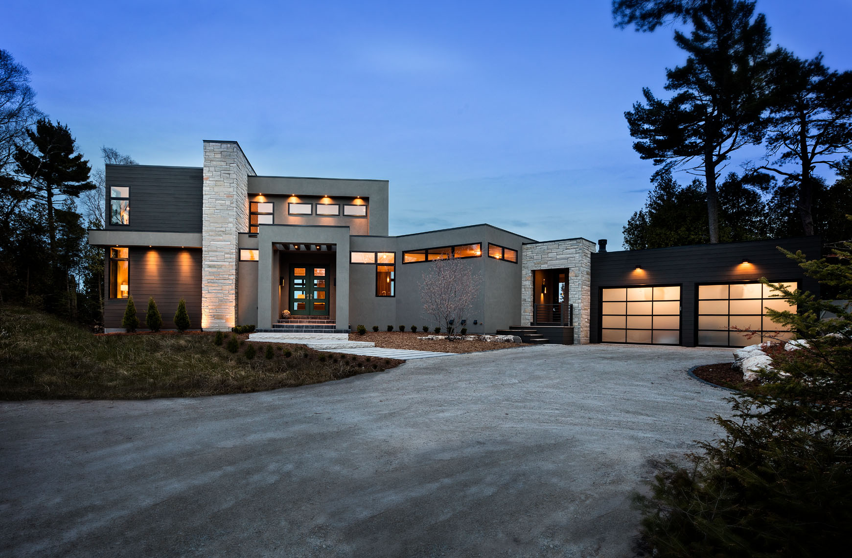 Architectural exterior of residential luxury home Door County Wisconsin