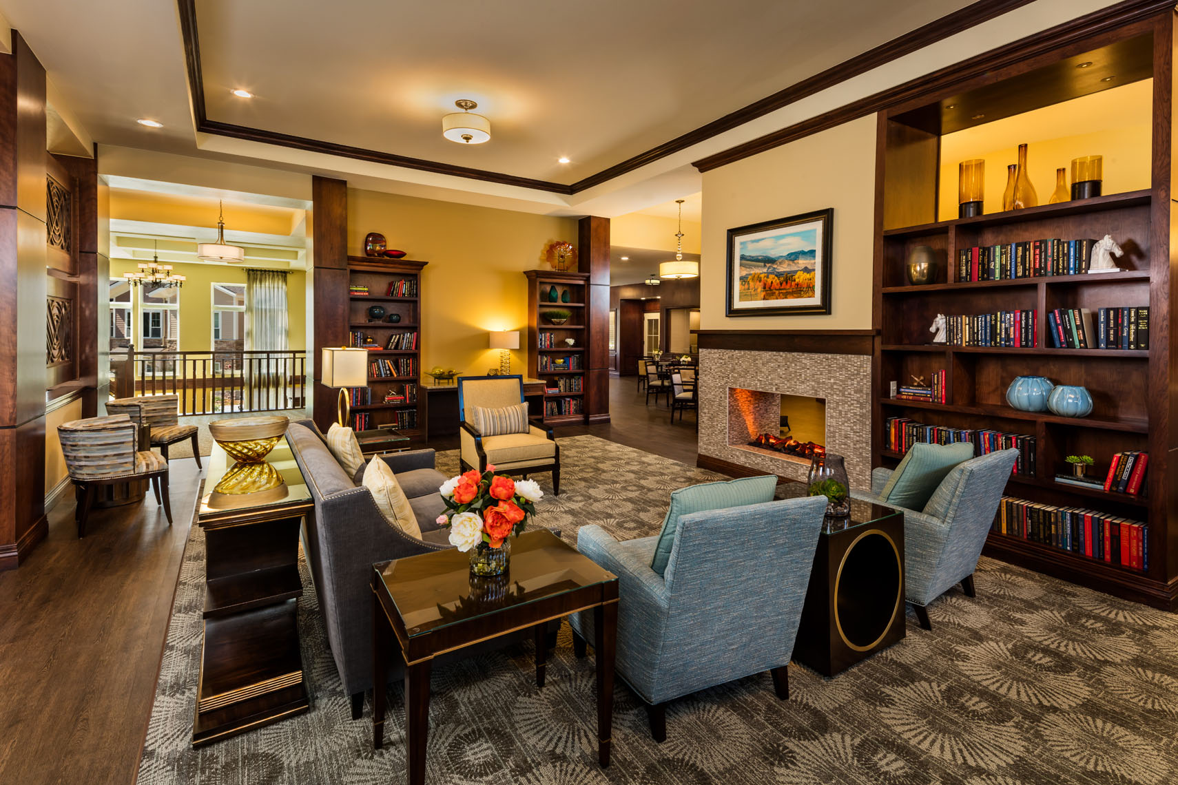 Senior living retirement facility /building photographed for the architect and interior designer in denver colorado